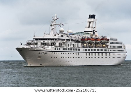 LITHUANIA_AUG 21:cruise liner ASTORin the Baltic sea on August 21,2012 in Lithuania. - stock photo