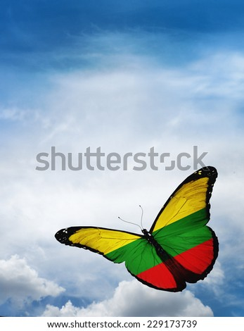 Lithuania flag butterfly flying on sky background - stock photo