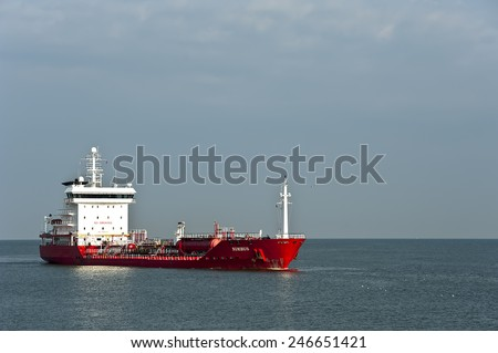 LITHUANIA-MAY 05:Oil/Chemical Tanker in hte Baltic sea on May 05,2012 In Lithuania.