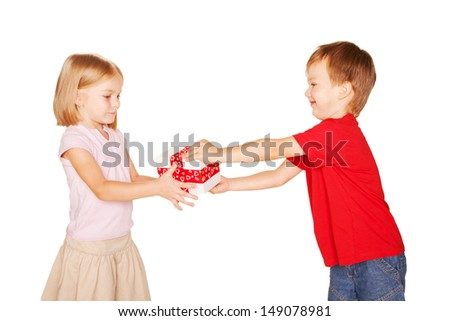 Little boy giving a little girl a gift. Present for a birthday, valentine's day or other holiday, ready for your text or symbols. Holiday Sale. Isolated on white background