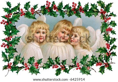 3 Little Christmas Angels with Holly Frame - a 1910 vintage illustration - stock photo
