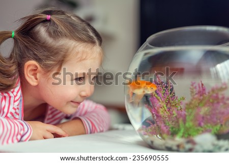little cute girl looking at goldfish in tank - stock photo
