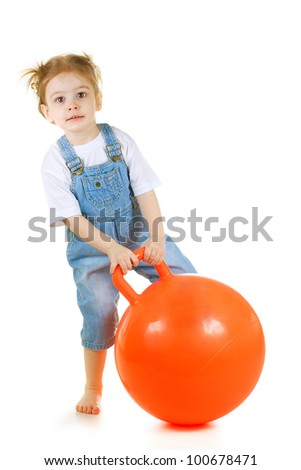 little cute girl with gymnastic ball on white background - stock photo