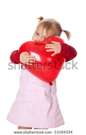 little girl and ballon - stock photo