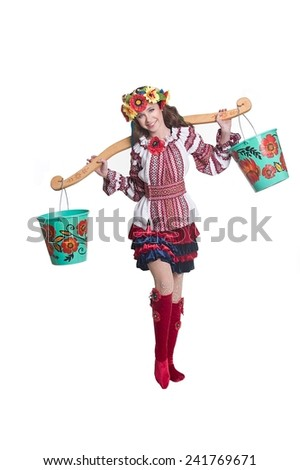 little girl dancer clothes in ukrainian national traditional costume - stock photo