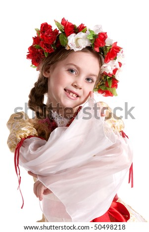 Little girl in Ukrainian national costume - stock photo
