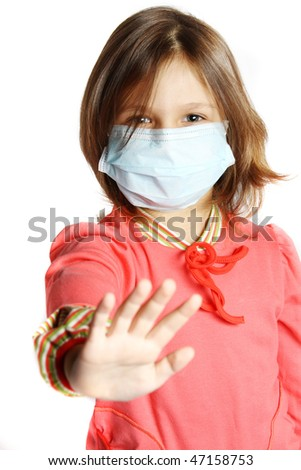Little girl wearing a protective mask - stock photo
