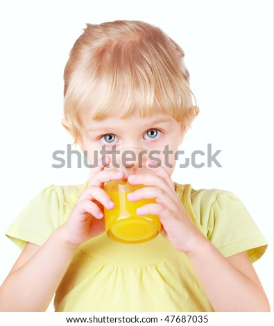 Little girl with fruit juice - isolated background