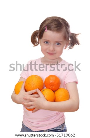 Little girl with oranges isolated on white background - stock photo