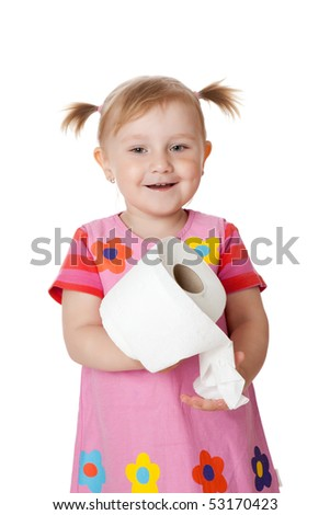 little girl with toilet paper - stock photo