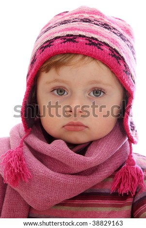Little girl with winter hat isolated on white background - stock photo