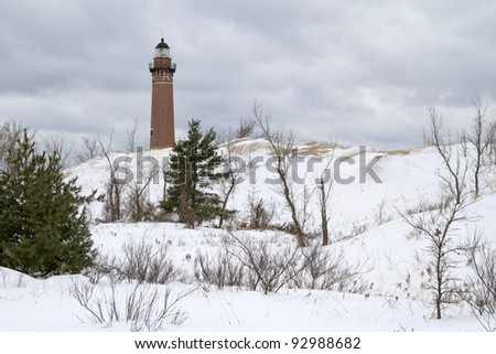 """Little Sable Winter"" -- Silver Lake State Park, Mears, Michigan, USA. - stock photo"