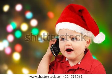 Little Santa boy - stock photo