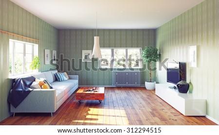 living room interior. 3d illustration design idea - stock photo