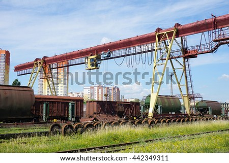 loading wagons. Railway loading and unloading. Freight trains. - stock photo