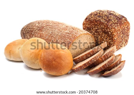 loafs of whole wheat and rye bread and  isolated on white background - stock photo