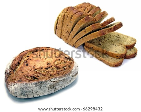 2 loaves of fresh German bread. A sliced wholemeal loaf & an onion loaf on a white background. - stock photo