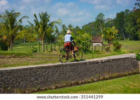 Local Balinese women cycling along a path past rice fields on her rusty bicycle - stock photo