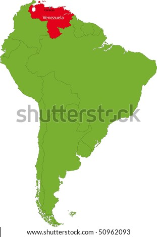 Location of Venezuela on the South America continent