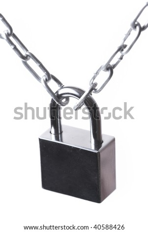 Lock and chain  on the white background - stock photo