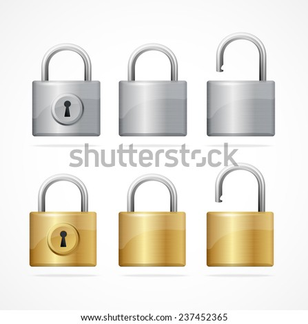 locked and unlocked padlock set isolated - stock photo