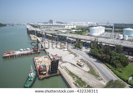 Logistics concept - Singapore cargo terminal,one of the busiest Import, Export, Logistics ports in the world, Hong Kong is global commerce, finance and transport hub in Asia  - stock photo