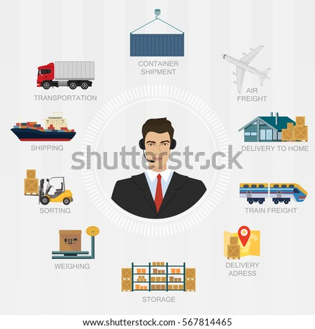 Logistics Manager Agent Concept Delivery Cargo Stock ...