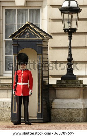 LONDON - JUN 30: The colorful changing of the guard ceremony at Buckingham Palace on June 30th, 2015 in London, UK.
