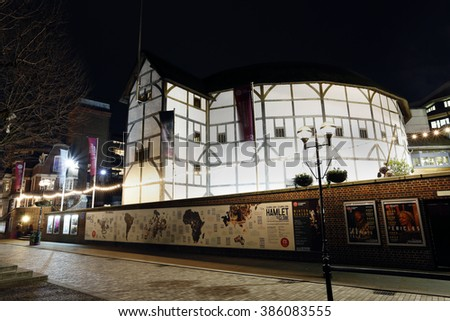 LONDON - MARCH 3: Outside view of Shakespeare's Globe Theatre; located on 21 New Globe Walk; Southwark London; since 1997; designed by Pentagram on March 3; 2016; London; UK