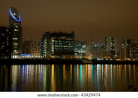 London's docklands area of Canary Wharf - stock photo