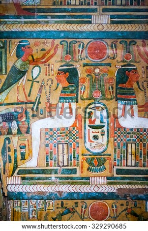 29. 07. 2015, LONDON, UK,  BRITISH MUSEUM - Painted scenes on egyptian coffins