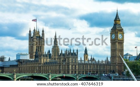 LONDON, UK - JUNE 6, 2015: Cityscape  with houses of Parliament and Big Ben  - stock photo