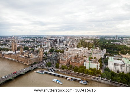 22.07.2015, LONDON, UK. Panoramic view of London from London Eye