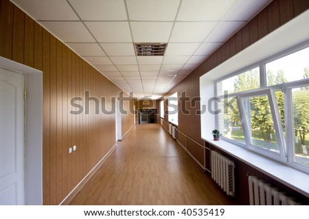 long corridor in hospital - stock photo