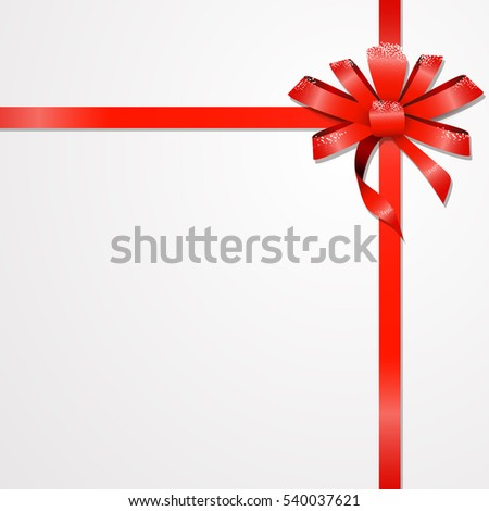 long red ribbon and big bow with two tails Isolated.  Holiday concept. New Year, Christmas banner.
