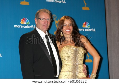 LOS ANGELES - AUG 29:  Ed O'Neill & Sofia Vergara in the Press Room at the 2010 Emmy Awards at Nokia Theater at LA Live on August 29, 2010 in Los Angeles, CA - stock photo