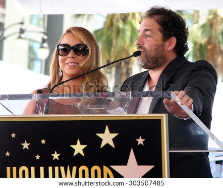 , LOS ANGELES - AUG 5:  Mariah Carey, Brett Ratner at the Mariah Carey Hollywood Walk of Fame Ceremony at the W Hollywood on August 5, 2015 in Los Angeles, CA - stock photo