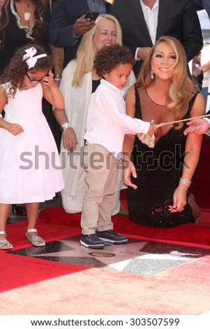 , LOS ANGELES - AUG 5:  Monroe Cannon, Moroccan Cannon, Mariah Carey at the Mariah Carey Hollywood Walk of Fame Ceremony at the W Hollywood on August 5, 2015 in Los Angeles, CA - stock photo