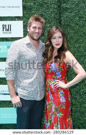 0LOS ANGELES - MAY 16:  Curtis Stone, Lindsay Price at the Super Saturday LA at the Barker Hanger on May 16, 2015 in Santa Monica, CA - stock photo