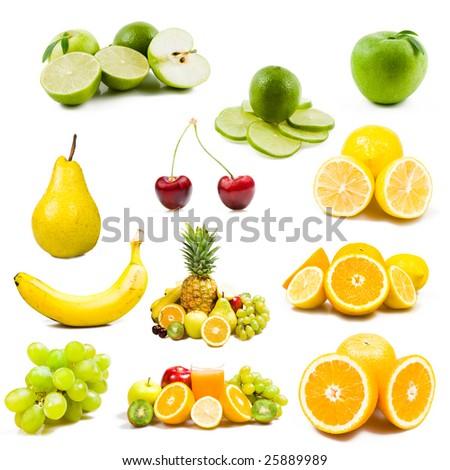 lot of fresh fruits isolated on white - stock photo