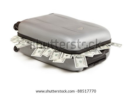 lot of money in a closed suitcase isolated on white - stock photo