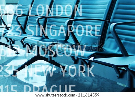 lounge with seats in the airport - stock photo
