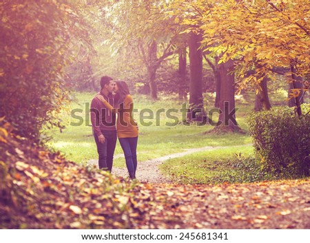 Love couple walking in the colorful autumn  forest  - stock photo