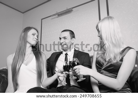 Love story about a man and two women - concept of a love triangle.  - stock photo