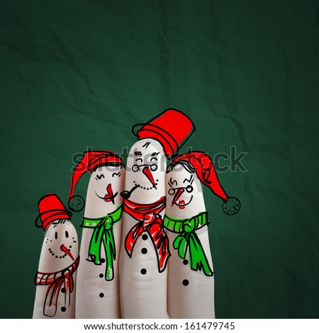 lovely family hand drawn and finger of snowmen,as concept idea - stock photo