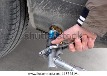 (LPG) Liquefied petroleum gas pump - stock photo
