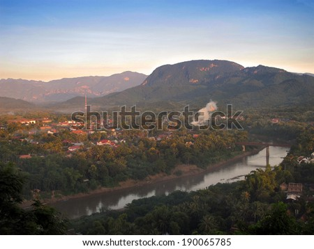 luang prabang laos at sunset from the top of the hill