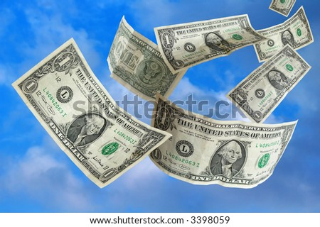 Lucky day-Dollars falling from blue  sky...metaphor - stock photo