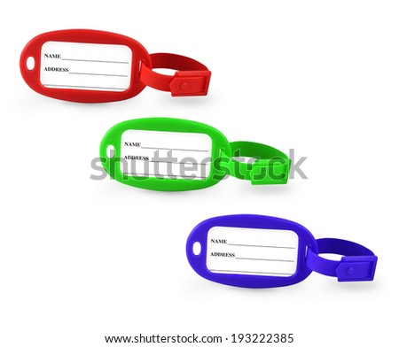 Luggage Tags Isolated on the white background. - stock photo