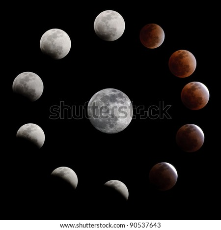 Lunar eclipse on 10 December 2011 from Thailand - stock photo